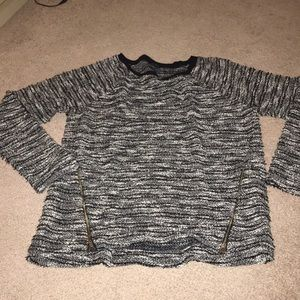 Black and white sweater with silver strands